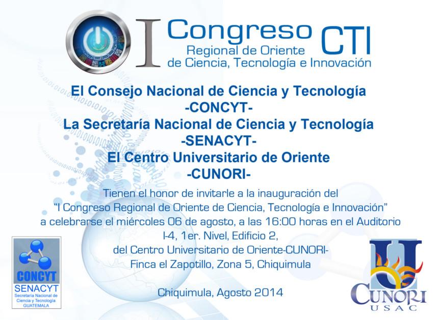 I congreso regional de oriente de ciencia tecnologia e innovacion
